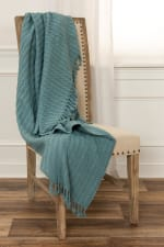 """Teal  Cotton Knitted 50"""" x 60"""" Throw - 1"""