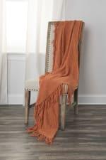 "Orange Solid Woven 50"" x 60"" Throw - Orange - Back"