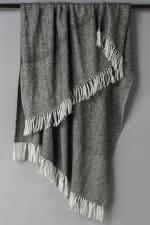 "Black / Ivory  Herringbone 50"" x 60"" Throw - Natural - Front"