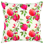 """Botanical Pomegranate 20""""x20"""" Multi Color Cotton Poly Filled Pillow - 5"""