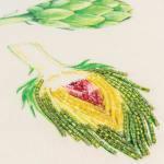 "Artichoke Motif 14""x26"" Green/Natural Cotton Poly Filled Pillow - 3"