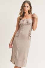 Kelli Ruched Dress - Coco - Front