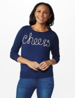 Roz & Ali Cheers Pullover Sweater - Plus - Navy - Front