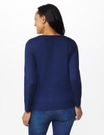 Roz & Ali Cheers Pullover Sweater - Plus - Navy - Back