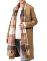 Plaid Scarf with Tassels - Pink / Grey - Front