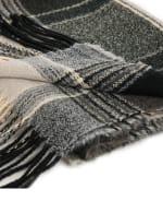 Plaid Scarf with Tassels - Black / Grey - Detail