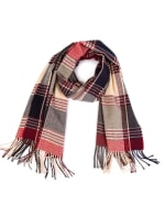Plaid Scarf with Tassels - Red / Grey - Back