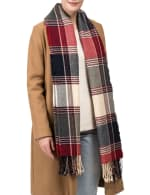 Plaid Scarf with Tassels - Red / Grey - Front