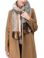Scarf with Tassels - Tan / Grey - Front