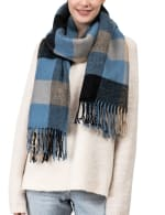 Plaid Scarf with Tassels - Gray / Blue - Back