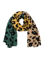 Leopard Grain Scarf - Green / Yellow - Front
