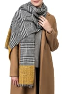 Scarf with Fringes - Yellow / Grey - Back