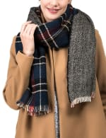 Plaid Reversible Scarf with Fringes - 5