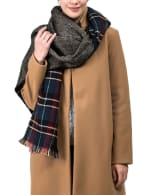 Plaid Reversible Scarf with Fringes - 7