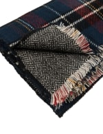 Plaid Reversible Scarf with Fringes - Grey / White - Back