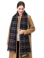 Plaid Reversible Scarf with Fringes - 4
