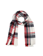 Scarf with Fringes - Red / White - Front