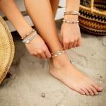 Inner Peace 4mm Healing Bracelet - Blue / Orange - Detail
