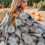 St. Kitts Mandala Kimono Cover Up - Black / Cream - Detail