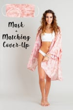 Peach Beach Cover-Up + Mask - Peach Watercolor - Front