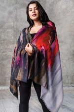Reena Fine Wool Shawl - Ruby / Onyx - Back