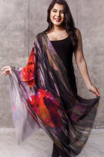 Reena Fine Wool Shawl - Ruby / Onyx - Front
