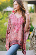 Demira Embroidered Tunic Top - Rose / Plum - Back