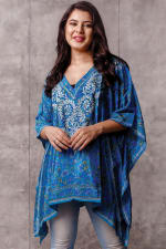 Demira Embroidered Tunic Top - Peacock Blue - Back