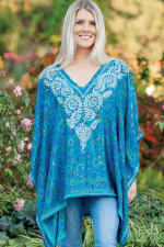 Demira Embroidered Tunic Top - Peacock Blue - Front