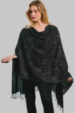 Tanisi Embroidered Wool Shawl - Black / Silver - Front