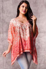 Taneesha Embroidered Tunic Top - Coral - Front