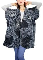 Galaxy Mixed Media Animal Print Kimono - Black - Front