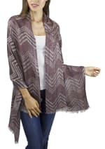 Zigzag Shawl With Frayed Edge - Spice - Front