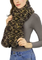 Faux Mink Pull Through Scarf - 1