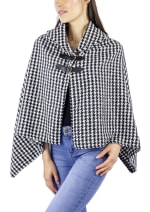 Houndstooth Shawl Collar Cape - 1