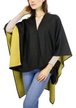 Super Soft Reversible Ruana - Black / Yellow - Front