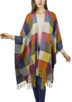 Colorblock Kimono - Denim / Multi - Front