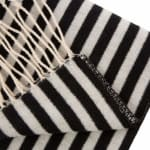 Woven Cotton Geometric Jacquard Throw 600g - Black / White - Detail