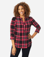 Roz & Ali Tartan Plaid Pintuck Popover - Misses - Red-Black - Front
