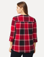 Roz & Ali Red and Black Plaid Pintuck Popover - Plus - Red-Black - Back
