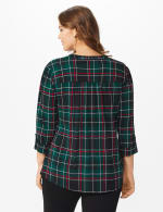 Roz & Ali Green Tartan Pintuck Plaid Popover  - Plus - Green-Black - Back