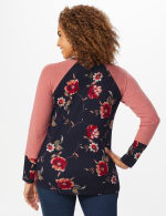 Westport Floral Hacci Twist Front Mix Media Knit Top - Navy/Mauve - Back