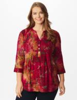 Wine Tie Dye Floral Jaquard Popover - Plus - Wine - Front