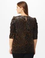 Roz & Ali  Puff Sleeve Velvet Burnout Knit Top - Plus - Neutral - Back