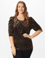 Roz & Ali  Puff Sleeve Velvet Burnout Knit Top - Plus - Neutral - Front