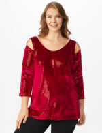 Roz & Ali Velvet Shimmer Dot Tunic Knit Top - Plus - Red - Front