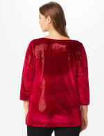 Roz & Ali Velvet Shimmer Dot Tunic Knit Top - Plus - Red - Back