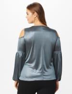 Roz & Ali Sparkle Knot Center Knit Top - Plus - Gunmetal/Black - Back