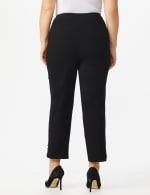 Plus Roz & Ali Tummy Control Pull On Ankle Pant with Gold Barrel Trim - Plus - Black - Back