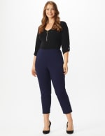 Plus Roz & Ali Tummy Control Pull On Ankle Pant with Gold Barrel Trim - Plus - 12